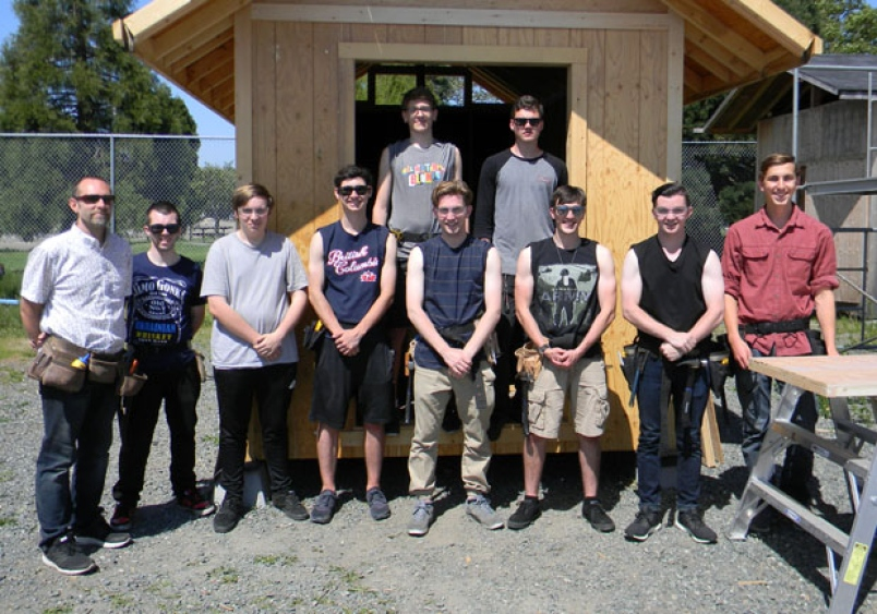 delta secondary carpentry students and teachers